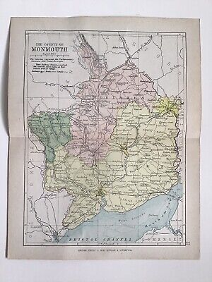 MONMOUTH c1886 Antique County Map Philip Railways Parliamentary Boroughs Atlas