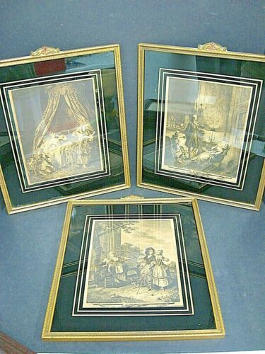 Art Deco Reverse Painted Glass wall Picture Frame set lot Black Gold 20s 30s