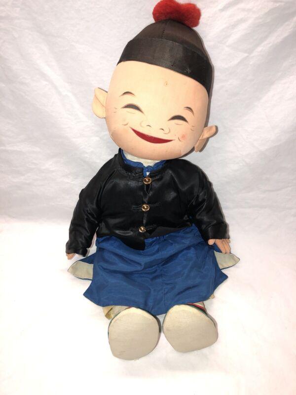 Vintage Chinamen China Chinese Plush Doll Asian Orient Ethnic Souvenir B5