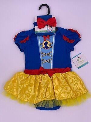 Disney Store Baby Snow White Halloween Costume Dress Tights Headband 6-12 - Disney Snow White Baby Kostüm