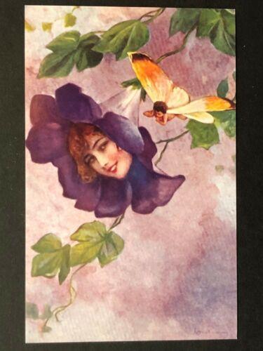 repro vintage postcard FLOWER FACE FANTASY fairy baby Pleiades Press p191 NOS