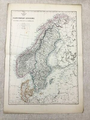 Antique Map of Scandinavia Norway Denmark Sweden Old Hand Coloured 19th Century