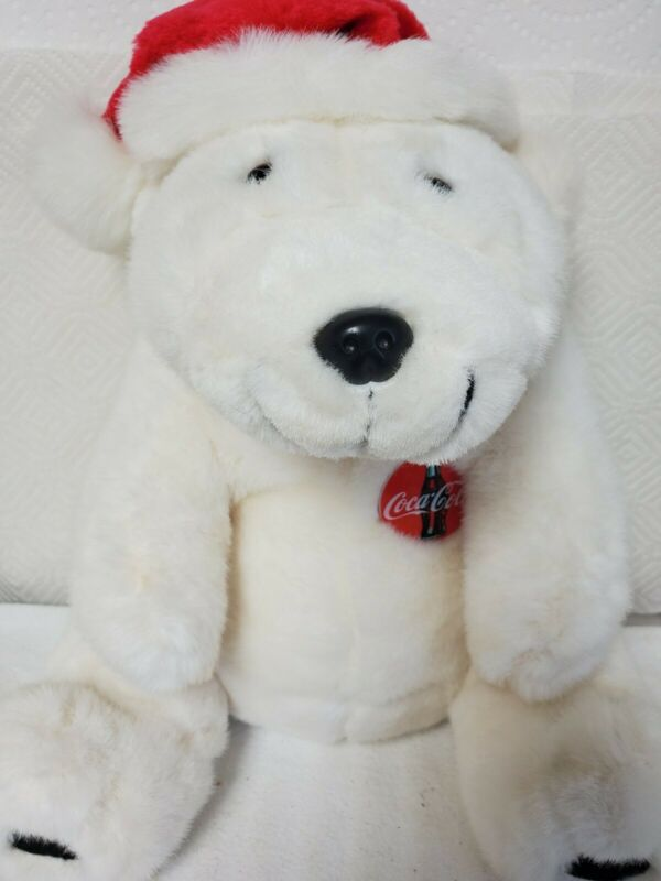 "Coca-Cola 1993 Vintage Polar Bear Plush With Christmas Hat And Coke Pin 14"" Tall"