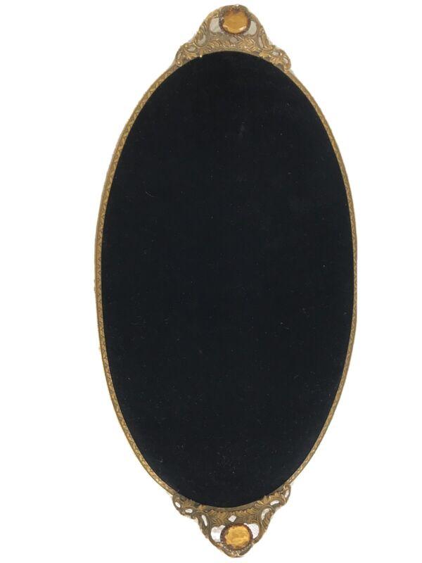 Matson Stylebuilt Jeweled Gilt Large Oval Velvet Tray Gold