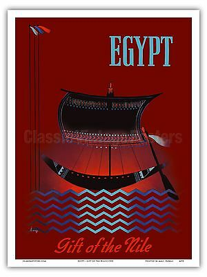 Egypt Nile Ancient Egyptian Solar Boat Vintage World Travel Art Poster -