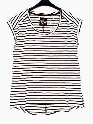 ESPRIT Damen T-Shirt, Gr. S, Weiß-Weinrot, neu mit Etikett,101758