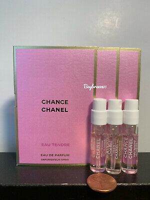 3 x Chanel Chance Eau Tendre EDP Spray Perfume Sample 1.5ml / 0.05oz each