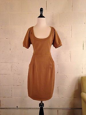 Kenzie brown Kangaroo pocket cotton jersey knit dress medium scoopneck