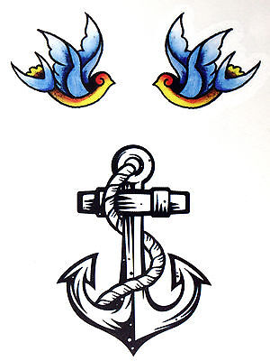 1 x Anchor with Blue birds Temporary Tattoo  TY0232](Tattoos With Birds)