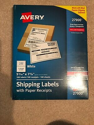 5-116 X 7-58 Avery Shipping Labels 100 Labels With Paper Receipts Sku 27900