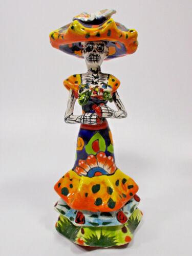 """7"""" TALAVERA CATRINA colorful ceramic, mexican pottery,  day of the dead figurine"""