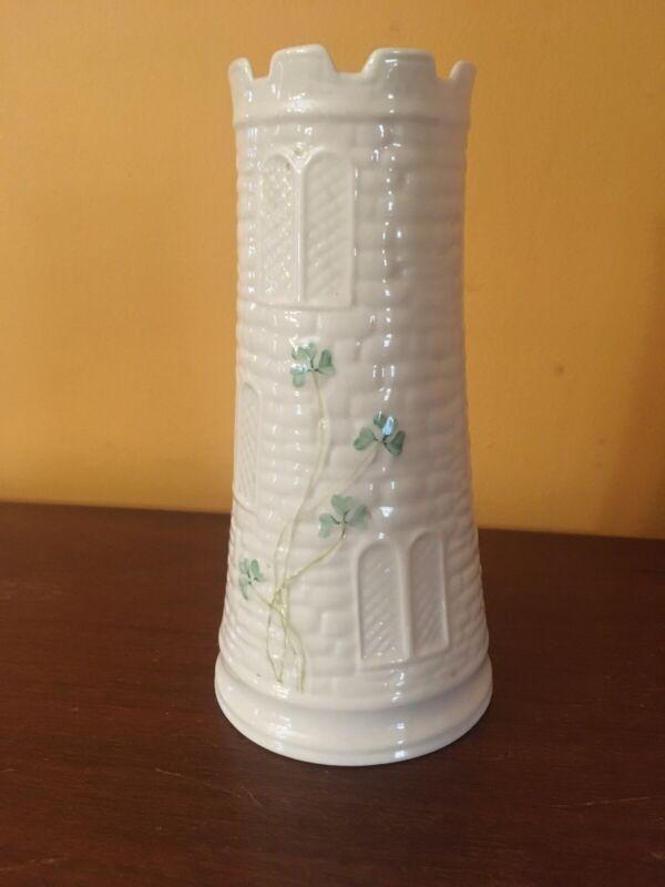 Belleek Castle Vase with Shamrocks on Basket Weave Pattern. Condition Is Used.