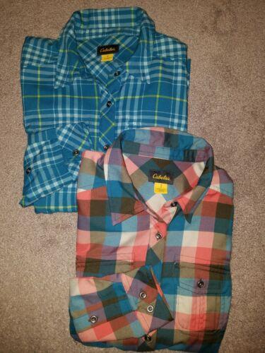 2 NEW Womens CABELAS Multi-color plaid Shirt FLANNEL SHIRTS