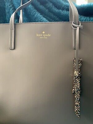 KATE SPADE NEW YORK Taupe Gray Large Tote Shoulder Bag Karla Smooth Leather BOW