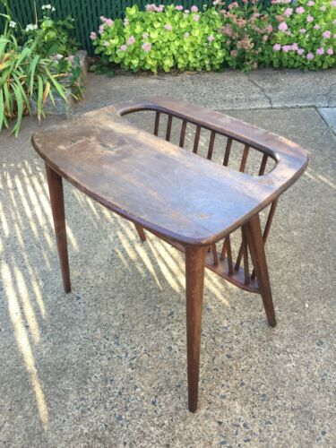 Arthur Umanoff Magazine Rack End Table – Mid Century Modern Danish Walnut Wood