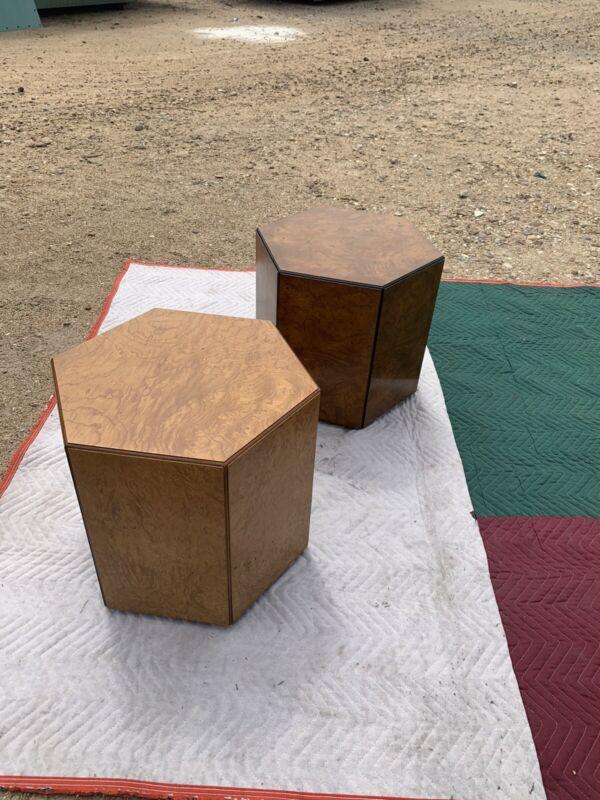 Pair John Widdicomb Burl Side End Tables Pedestals