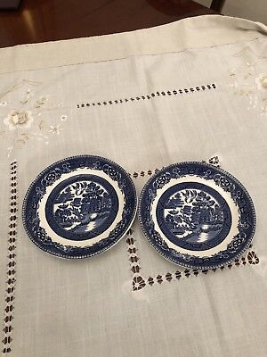 alfred meakin Old Willow Pattern 2 Saucers