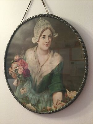 """Vintage Flue Cover Woman Roses Mounted Round Metal Frame 12"""" BEAUTIFUL"""