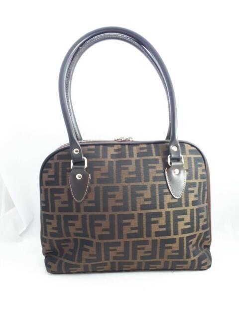 bbe0bf6cf7 Fendi Vintage SAS Zucca Brown fabric Handbag Womens Authentic ...