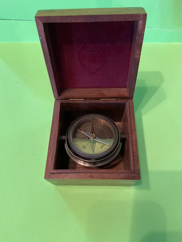 Brass Compass In Box Gimbal