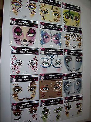 FACE ART Gesicht Sticker Face Tattoo Glitzer Fasching Halloween Gesichtstattoo