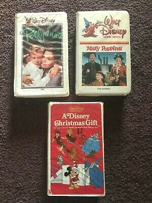 Walt Disney Home Video 3 VHS Lot Pollyanna Mary Poppins Christmas Gift Clamshell