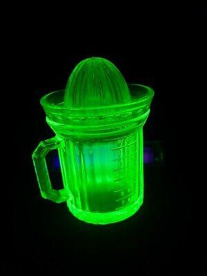 VINTAGE yellow DEPRESSION GLASS JUICER & CUP MEASURING VASELINE URANIUM GLASS