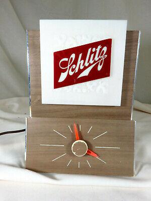 Vintage 1965 Schlitz 2-sided Lighted Clock Beer Sign Cash Register Bar Light