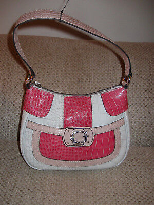 Guess Hobo Style Shoulder/Hand Bag in Ivory/Red/Tan