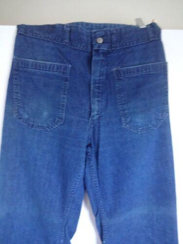 Vintage 70s SEAFARER USN NAVY Denim Bellbottom Dungaree Jeans USA Size 30 x 28