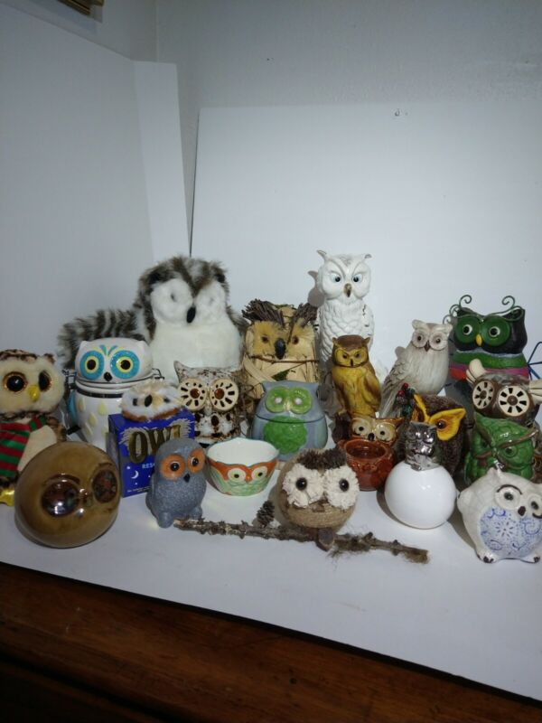 Large Lot Of 20+ Owl Decorations collectable BULK LOT