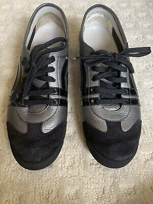 SALVATORE FERRAGAMO Silver Black Stripe Suede AccentLace Up Sneakers Shoes Sz 9B