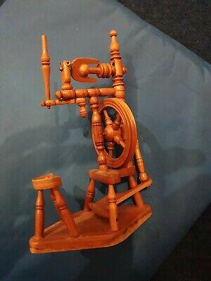 wooden miniature spinning wheel