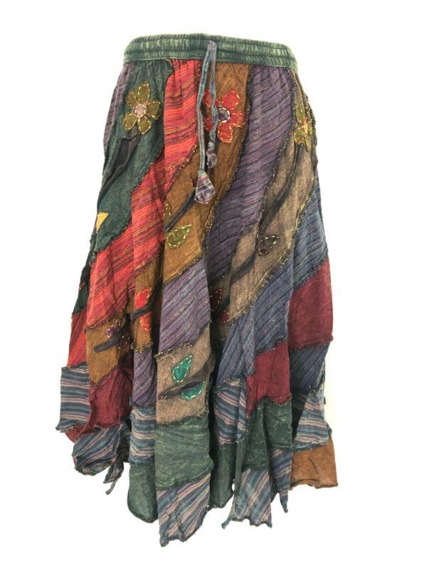 NWT Gypsy Patchwork Hippie Festival Cotton Skirt Retro Dress Handmade Nepal S49