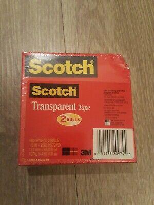 2 Rolls Scotch Transparent Tape 12 X 2592 Inches 600-2p12-72 144 Yd