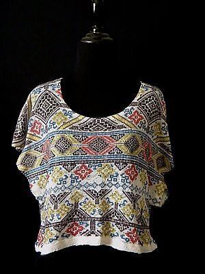 Poetry Crop Top Blouse Short Sleeve Aztec Design No Size Boho Shirt