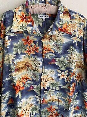 XXL Pierre Cardin Hawaiian Button Shirt Floral Tropical Beach 2XL Huts Palm Tree