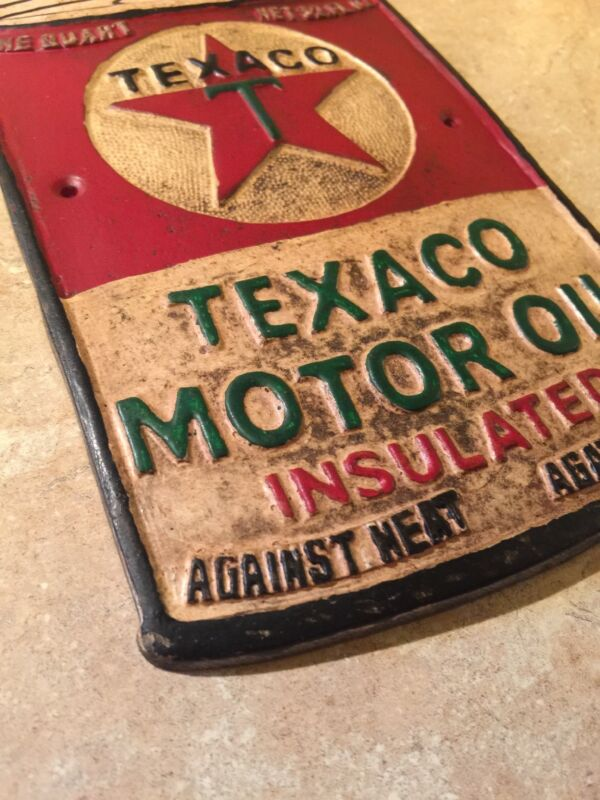 Texaco Sign Solid Metal Vintage Style Oil Gas Gulf Michelin Wet Patina Retro NR