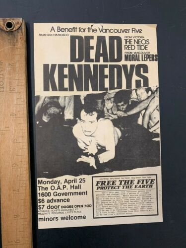 Vtg DEAD KENNEDYS Neos Moral Lepers Punk Concert Flyer Hall Victoria BC Canada