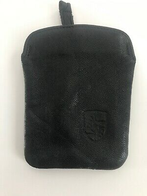 Porsche 911 928 Carrera key pouch fob chain black genuine leather euc