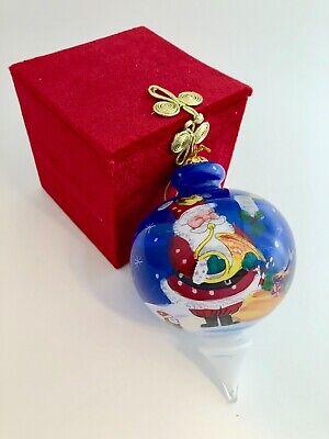 Pier 1 Blue Santa Hand Painted Li Bien Glass Christmas Ornament Dated 2012 Blue Santa Ornament