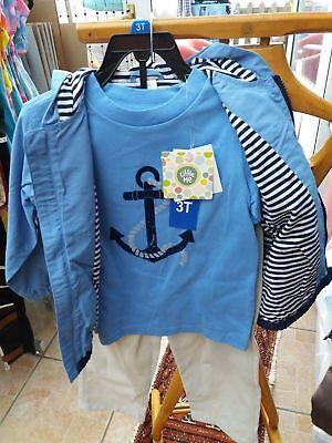Little Me Nautical Whale Jacket Outfit - 3 piece set