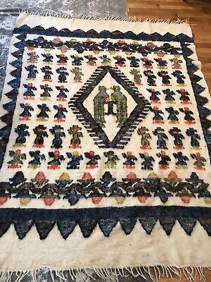 Vintage WOOL SOUTH AMERICAN RUG- Blanket Mayan Folk Art Southwestern