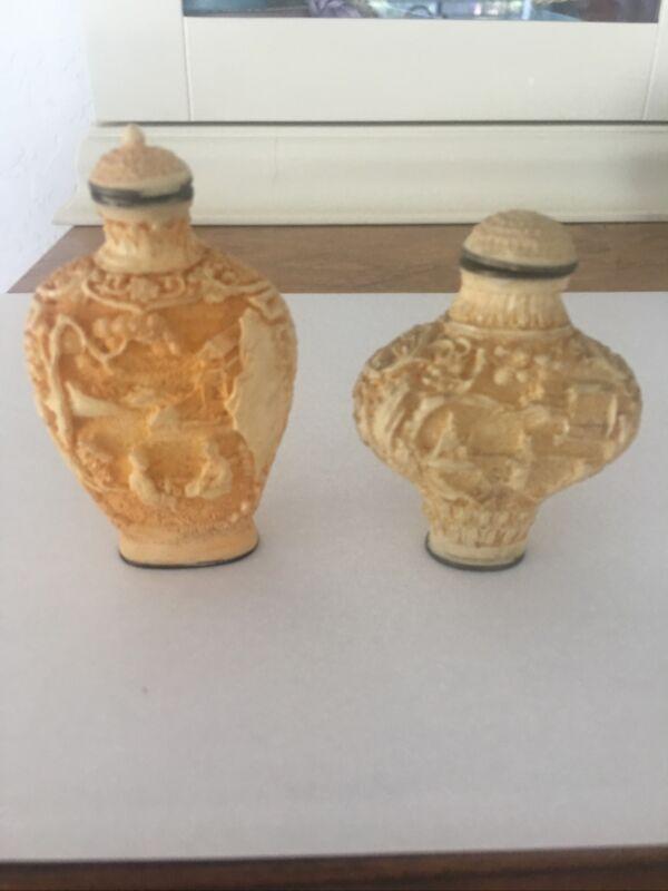 Two Vintage Snuff Bottles - Resin