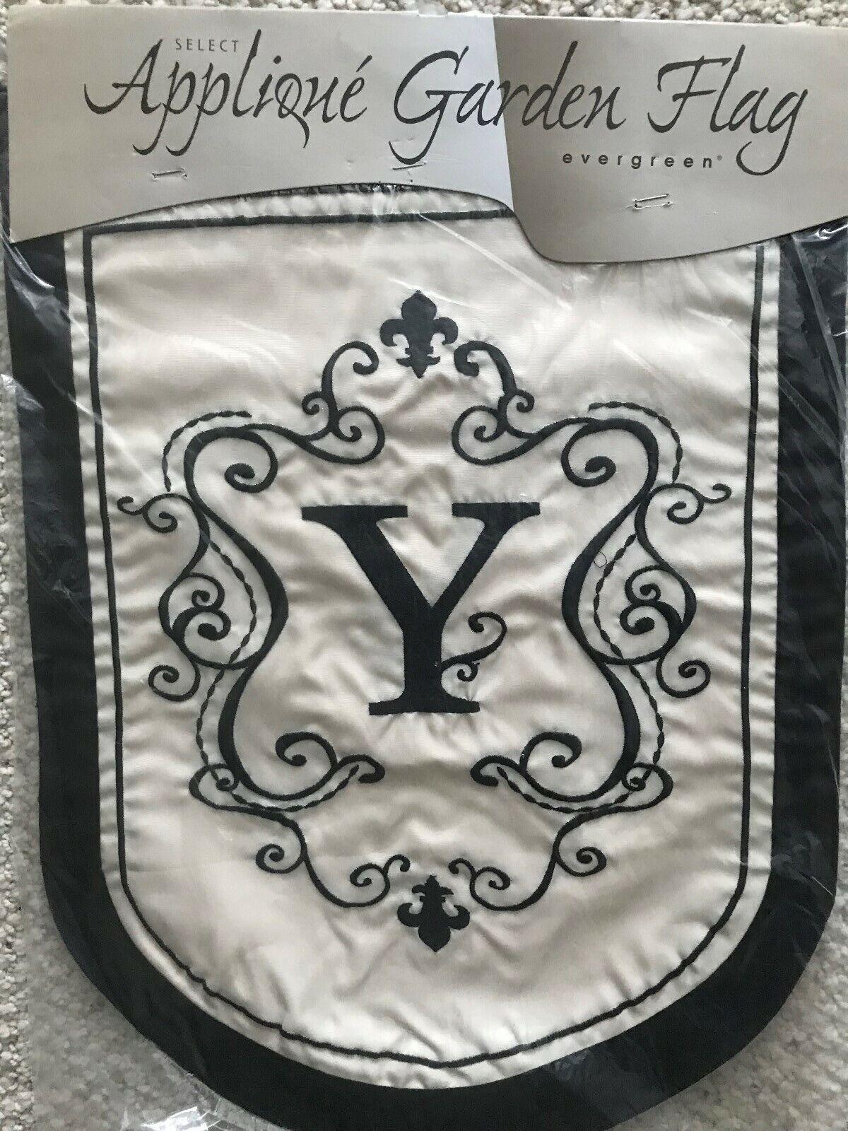"Monogram Garden Flag ""Y"" - Double Applique  by Evergreen - N"
