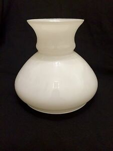 Glass-Cowl-6-inch-oil-lamp-shade-light-Opal-White-replacement-vintage-rare