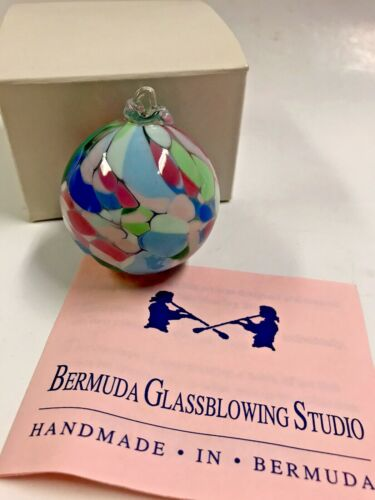 Bermuda Glassblowing Studio Holiday Christmas Multicolored Ball Ornament