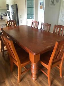 8 seater Oregon dining table and chairs