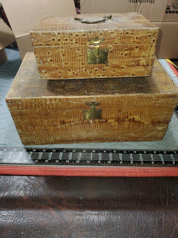 (2) Old Antique vtg 19th C 1850s Grain Painted Folk Art Wooden Boxes