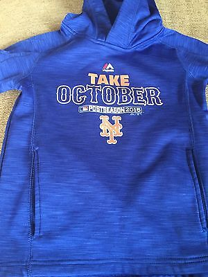 Majestic New York Mets Take October Mlb Playoffs Sweatshirt Hoodie Youth Small
